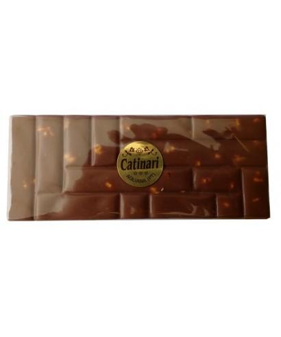 Chocolate milk bar with hazelnuts